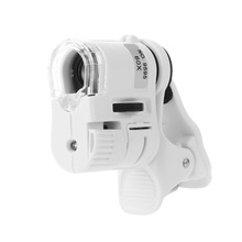 60X12 мм Мини HD микроскоп мобильный телефон Макрос микроскопа объектив зум Микро камера клип с светодиодный светильник Ювелирные изделия Лупа
