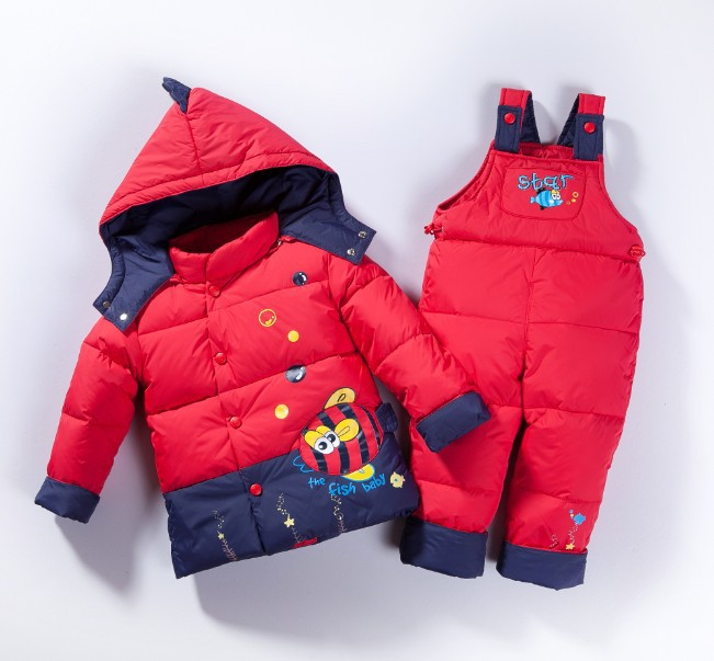 4c5fc790cf9 2018 New Baby Boys Girls Winter Clothing Suit Children White Duck Down Warm  Clothes Thickening Hoodie Cartoon Outwear Snowsuit