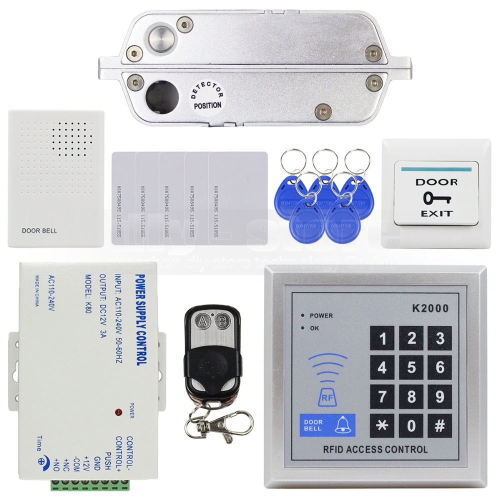 DIYSECUR 125KHz RFID Password Keypad Access Control Security System Full Kit Set Electric Drop Bolt Lock Electric Mortise LockDIYSECUR 125KHz RFID Password Keypad Access Control Security System Full Kit Set Electric Drop Bolt Lock Electric Mortise Lock