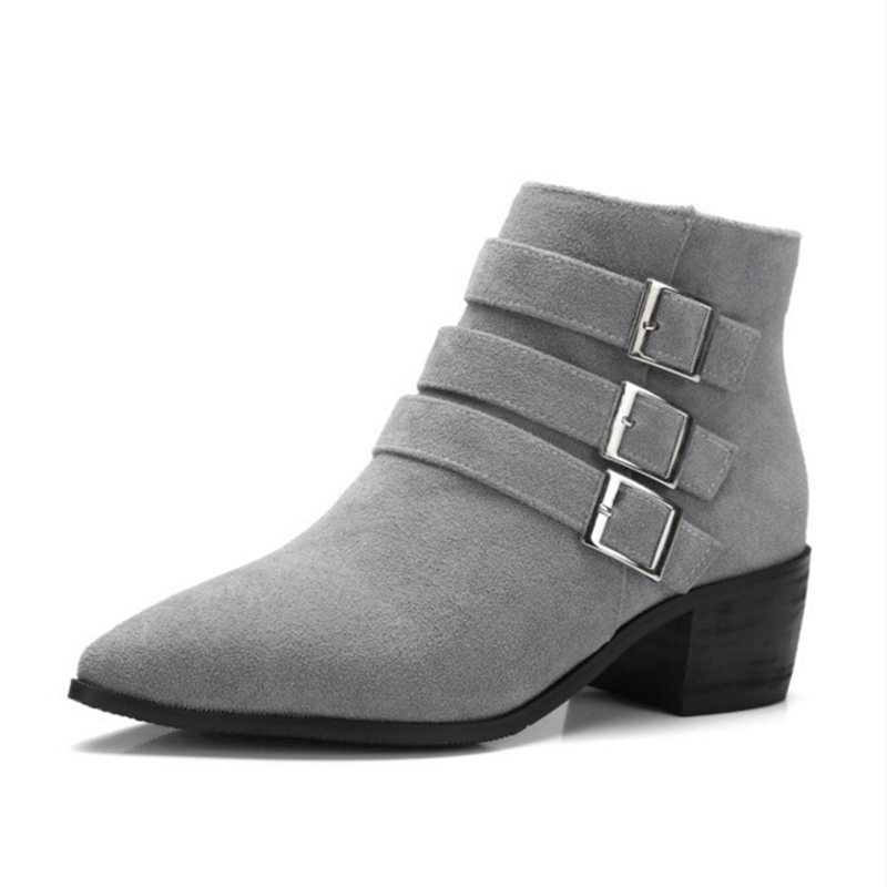 Women's Stylish Comfortable Buckle Strap Round Toe High Tops Flat Booties Shoes