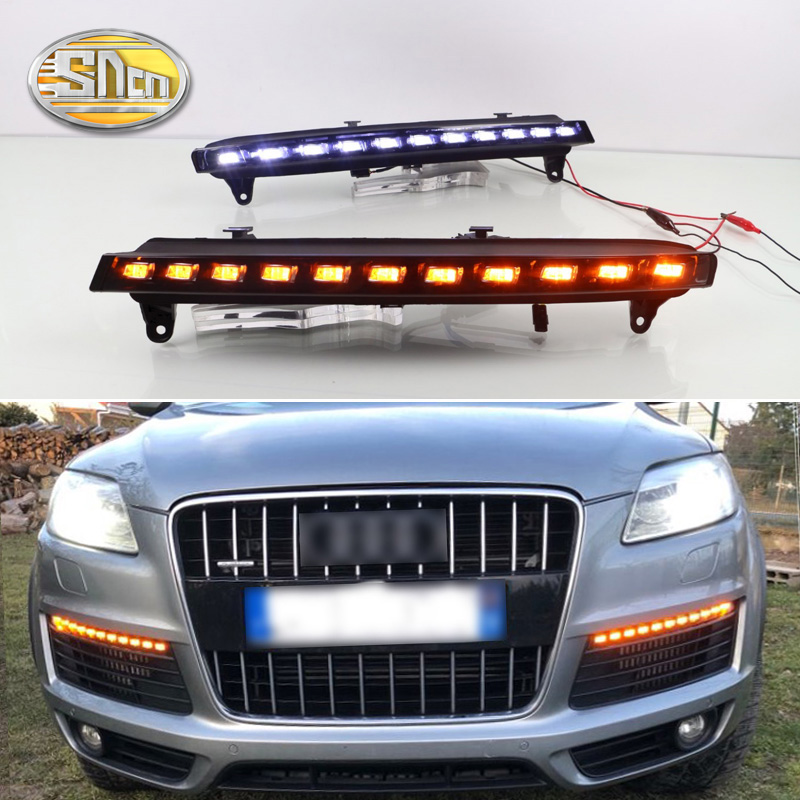 SNCN 2PCS LED Daytime Running Light For Audi Q7 2006 2007 2008 2009 Yellow Turn Signal Function 12V Car DRL Fog Lamp Decoration for audi q7 2007 2008 2009 new pair of halogen front fog lamp fog light with bulbs 8p0941699a 8p0941700a