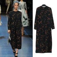 Fashion Plus Size Women's Clothing Large Size Casual Long Print Pocket Straight Chiffon Dress Loose Casual Runway Vogue Dresses