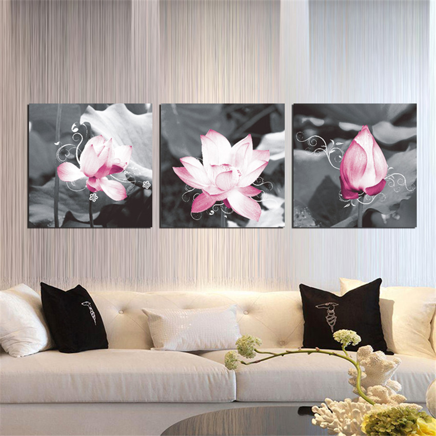Ween lotus flower canvas arts stretched and framed home for House decoration pieces