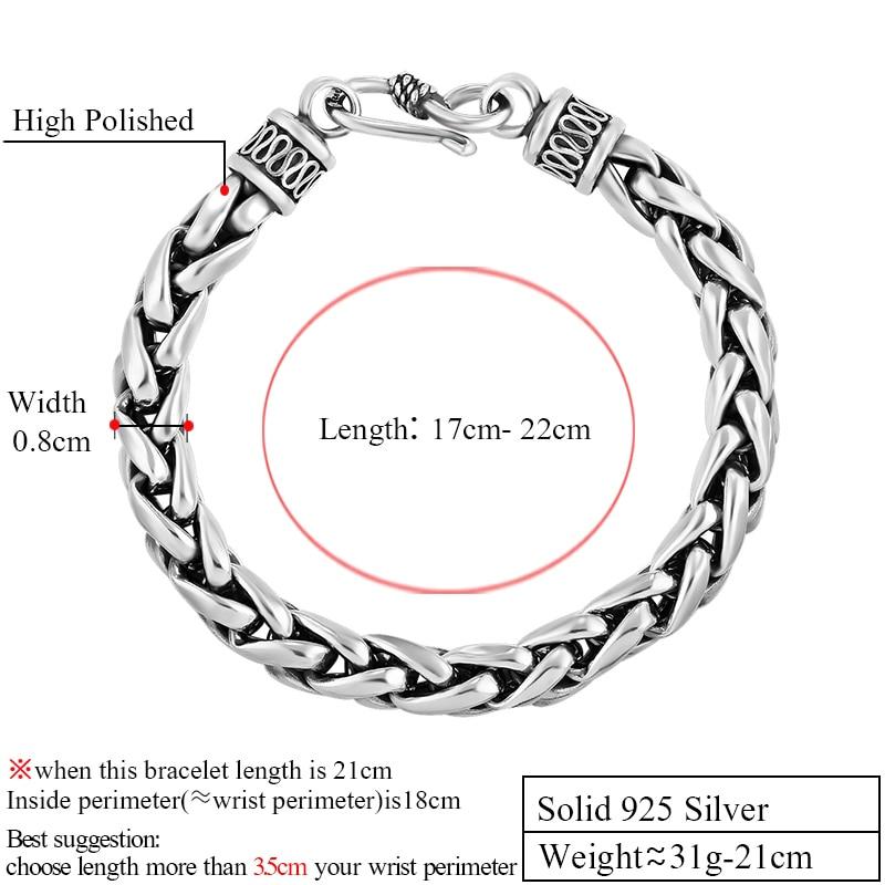 ZABRA 925 Pulsera de plata esterlina para hombre Líneas de trigo - Bisutería - foto 2
