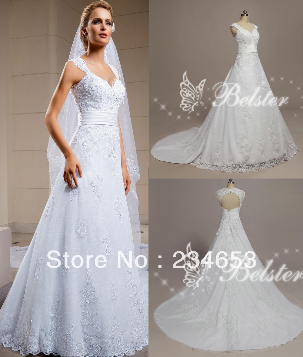 2014 lace a line european style wedding dress with cap for A line style wedding dresses