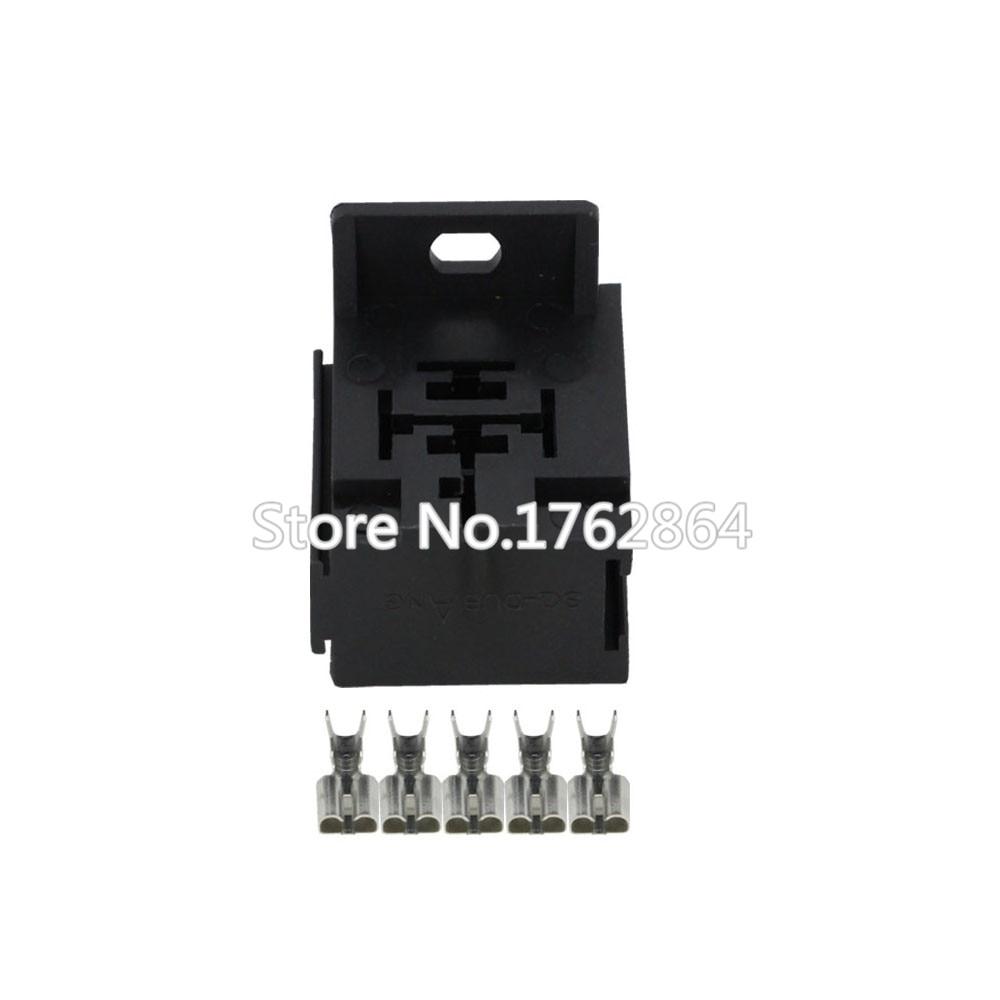 5 Pin 5 Maneiras Soquete do Relé Auto 6.3 Conector De Fio De Plástico Elétrica Automotiva DJJ7054Y-6.3-21 5 P