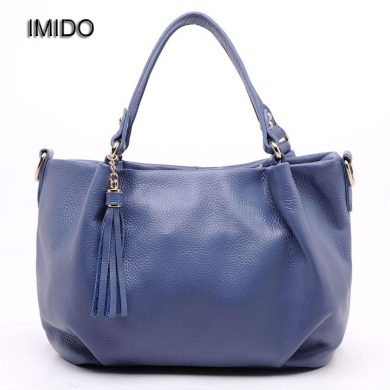 IMIDO Vintage Genuine Leather Luxury Handbags Women Bags Designer Shoulder Bags Woman Messenger Bag Clutch Tassel Black HDG004 imido hot sale designer genuine leather bags women shoulder bag cowhide crossbody small bags purple yellow dollar price mg020