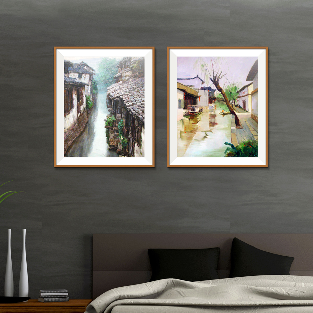 Town river ship Bridge Landscape Traditional Chinese Spray Canvas Oil Painting Frameless Unframed art airbrush technical