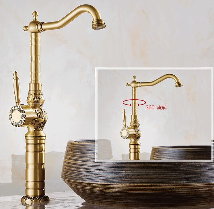 Новое поступление вентиль бассейна высокого качества античная латунь Luxury Art Резные Ванная комната Водопроводной воды раковина кран, смесит...
