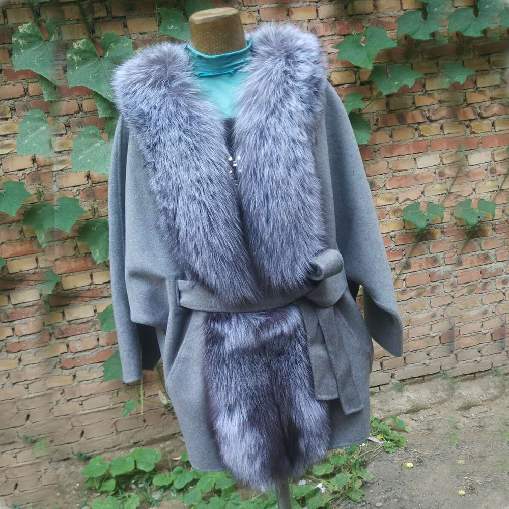 Luxueux Nature De Mince Picture Laine Particulier Col Femme Renard Long Furry Manteaux Réel Fourrure Ceinture En As Pour Argent Avec Vestes T5IxqYw