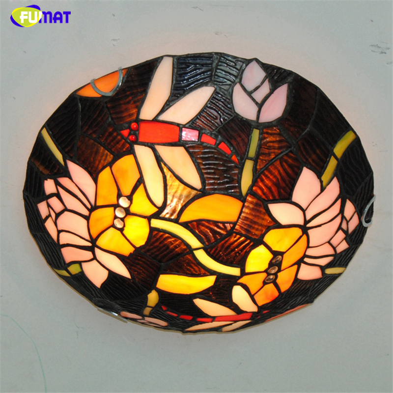 Fumat 16 Lotus Dragonfly Ceiling Lamps Tiffany Stained Glass Ceiling Light For Bed Room Dining Room Kitchen Led Art Lamp Leather Bag