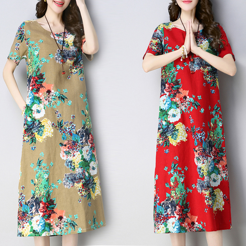 2020 Cotton Linen Qipao Dress Chinese Dresses Traditional Flower Print Cheongsam Modern Qipao Dress Female Cotton Qi Pao Dress