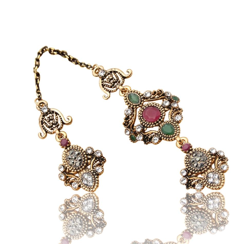 Nobby Flower dobbelt fingerring tyrkiske kvinder antikke krystal - Mode smykker - Foto 2