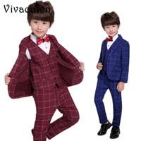 Children Suit Boys Suits for Weddings Boy Formal Prom Suit Kids Plaid Blazer Vest Pants 3pcs Children Clothes Set Costume F030