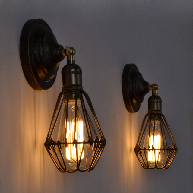 loft cage wall lamps vintage industrial wall lights edison fixture