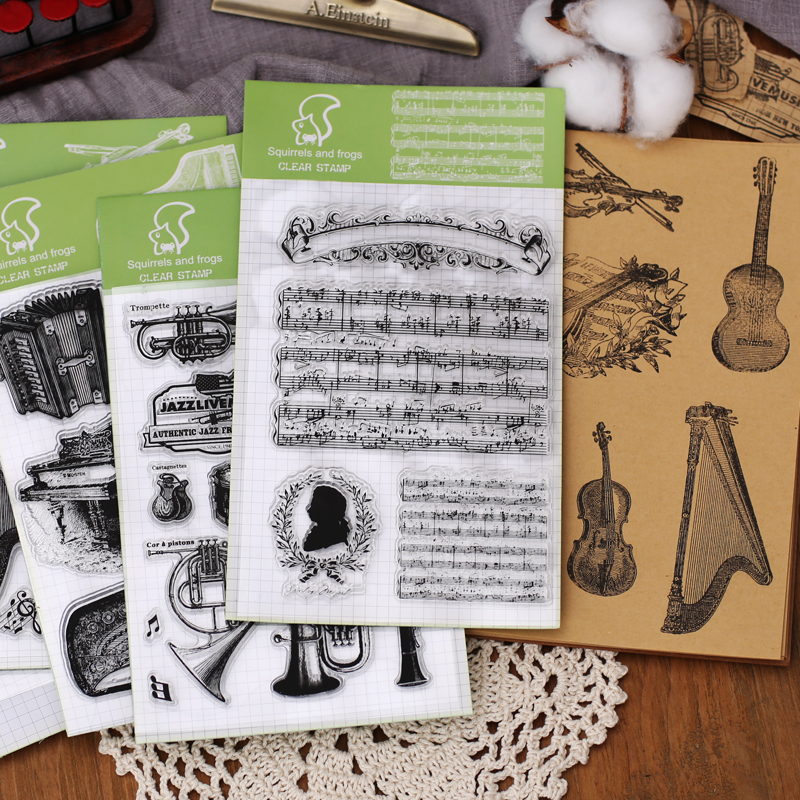 1pc Silicone Seal Clear Stamp DIY Retro Music Jazz Mozart Piano String Material Stamps Bullet Journal Supplies School Stationery