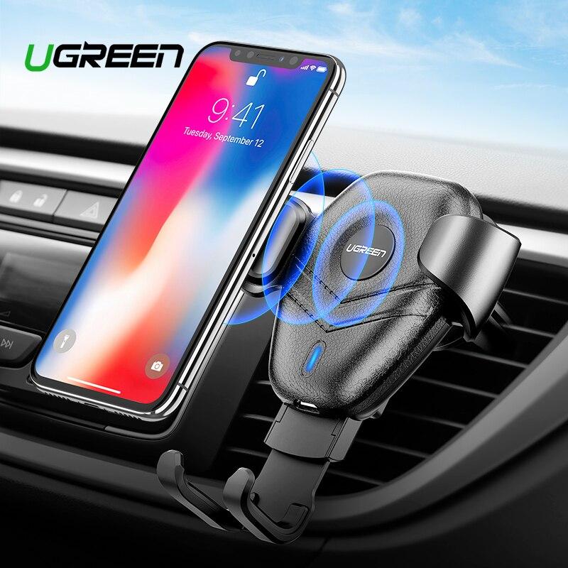 Ugreen Qi Carregador de Carro Sem Fio para o iphone Xs XR X 8 10 W Rápido Carregamento Sem Fio para Samsung Galaxy S9 s8 Carregador de Suporte Do Telefone Do Carro