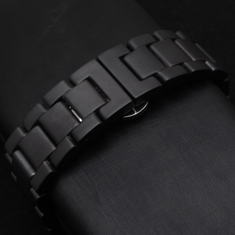 Black Watchband matte Ceramic Watch strap bracelet 22mm Watch Accessories butterfly buckle deployment replacement watchbands new 22mm new watchbands high quality ceramic watchband black diamond watch fit ar1406 man watches bracelet watch strap watchband
