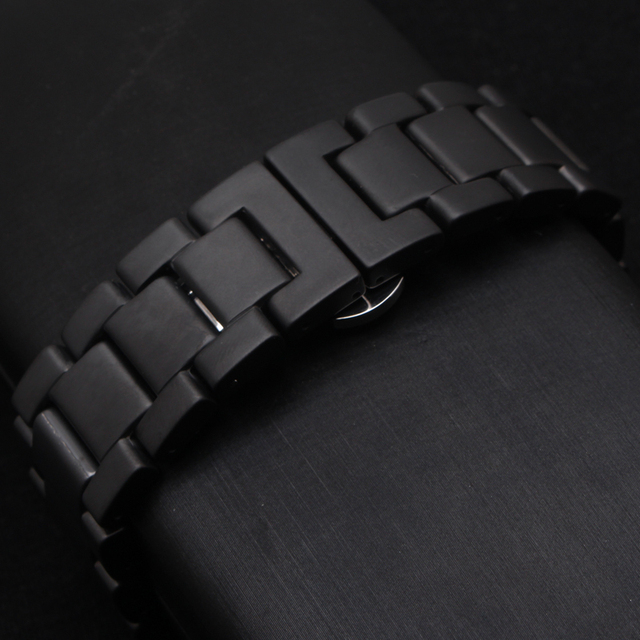 Black Watchband Matte Ceramic Watch Strap Bracelet 22mm Accessories Erfly Buckle Deployment Replacement Watchbands New