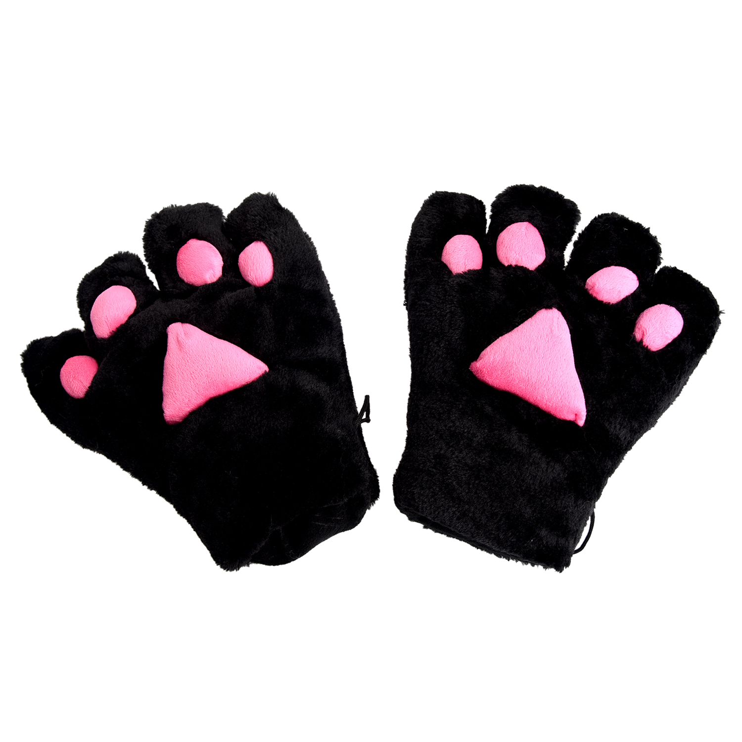 Hot 2 X Glove Cat's Paw Plush Costume For Cosplay - Black