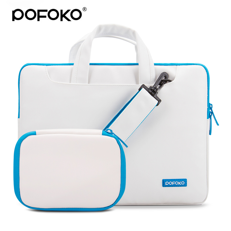 все цены на POFOKO PU leather laptop messenger briefcase bag for Macbook Air/Pro 13 Laptop Sleeve Case 13 with free accessories hand bag онлайн