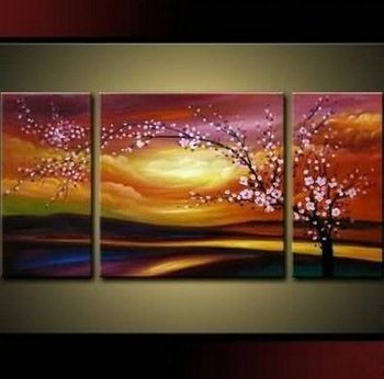 Plum Tree Blossom 100% Hand Painted Abstract Wall Canvas Art Sets Painting for Home Decoration Oil Painting Modern Large 3 Piece