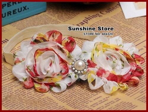 2015 new headband girls Vintage Chiffon Rosette -Shabby chic flower rhinestone diamond jewelry accessories #2B2265  10 pcs/lot