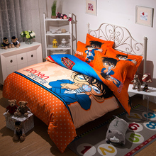 Japanese Anime Conan Bedding Set Twin Full Queen King,Adult Cartoon Orange Red Polka Dot Quilt Cover Bed Sheets Mattress Cover