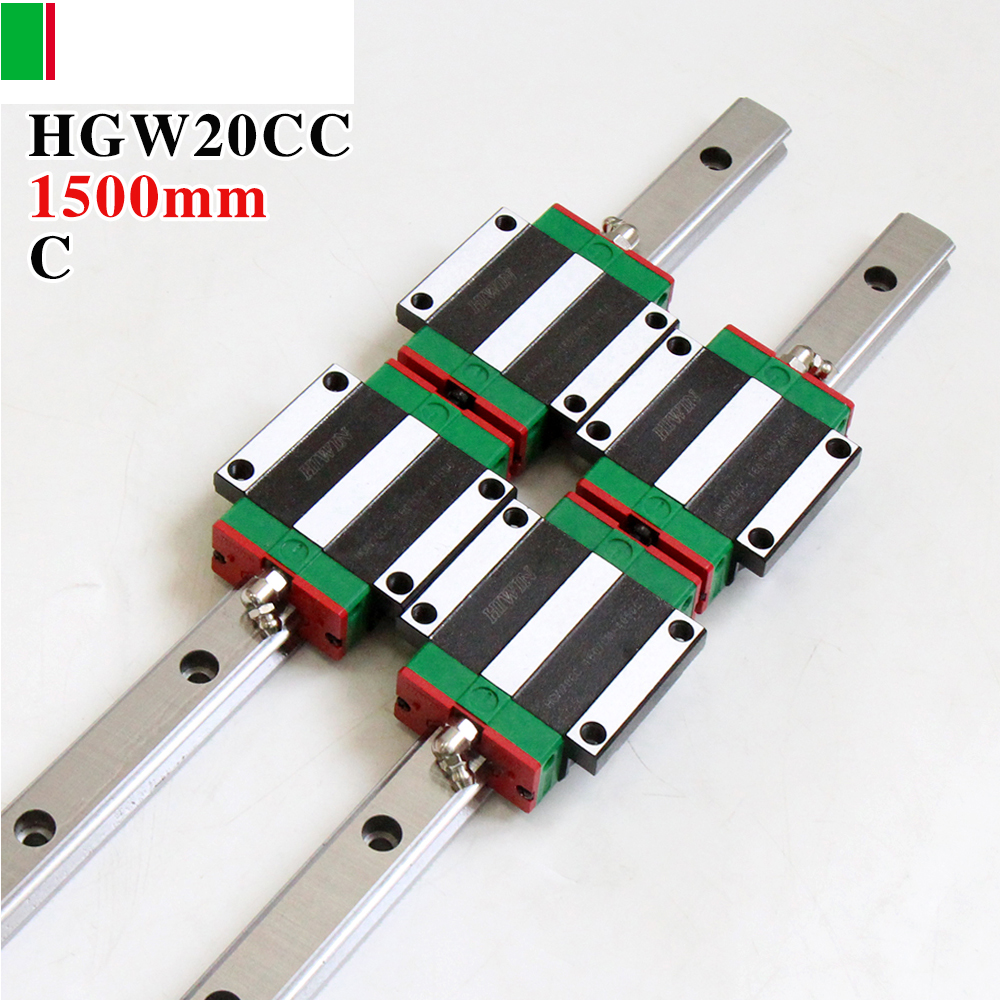 CNC Guide Rails,2pcs HIWIN HGR20 Linear Rail 1500mm + 4pcs HGW20CC CNC Linear Guide Rail Block 2pcs hiwin hgh25ca linear guide slider block linear rails carrier