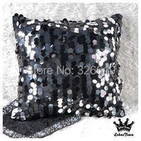 Free shipping Pillow on sofa bed cushion cover luxury big black paillette cushion cover