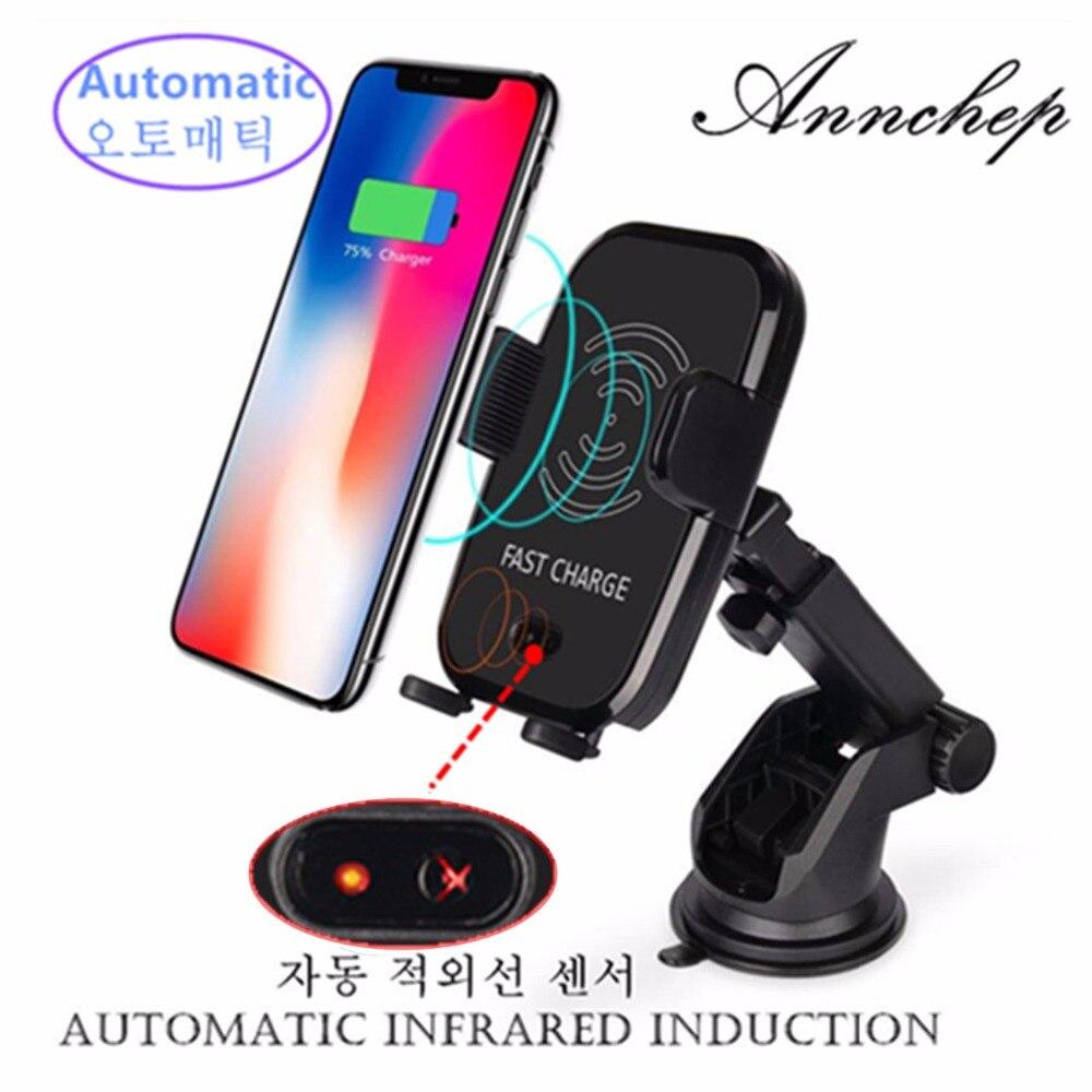 Annchep Automatico Qi Veloce Auto Caricatore Del Telefono Senza Fili per Il Iphone X 8 Iphone 8 Più di Samsung S9 S8 Più Nota 8 con Sensore A Infrarossi