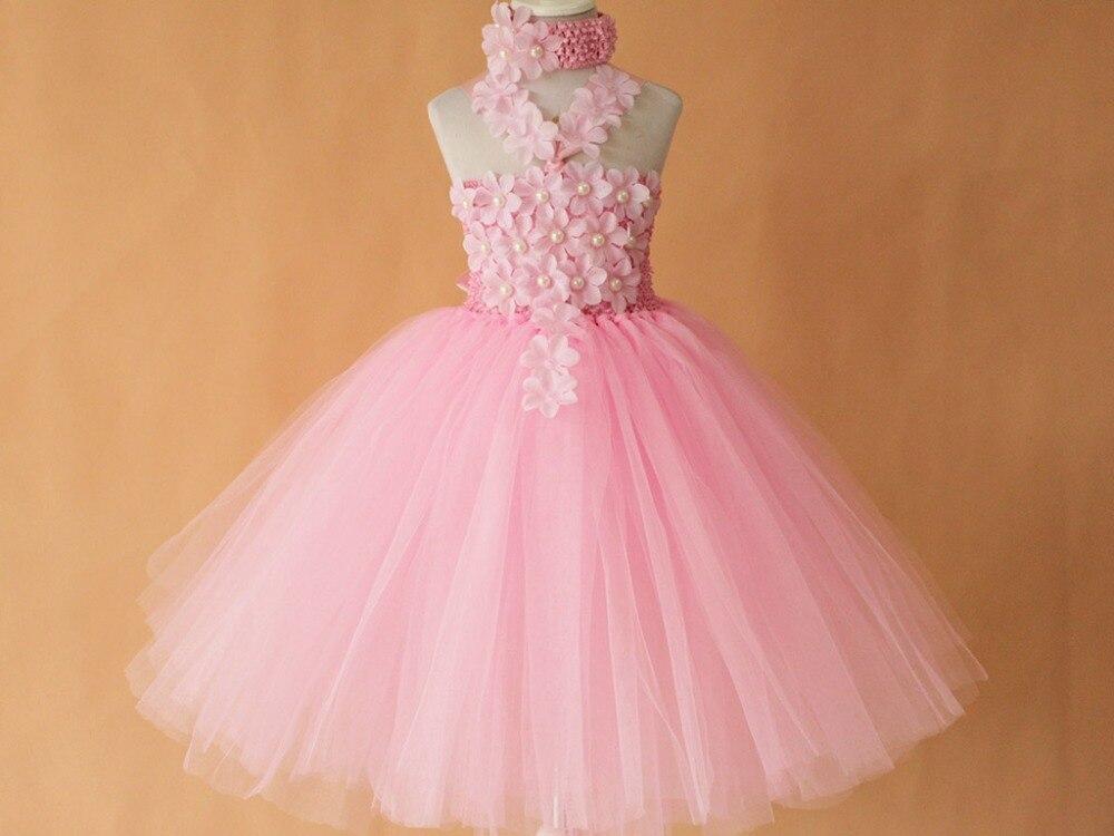 Pink Floral Crochet Tutu Dress With Headband Retail Summer Pink