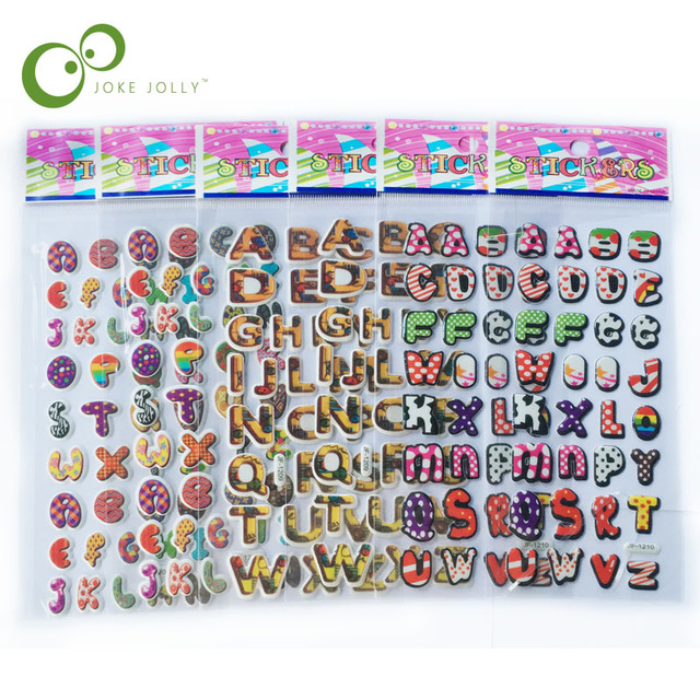 5 sheets/lot English Letter Stickers 3D Cartoon Classic Toys