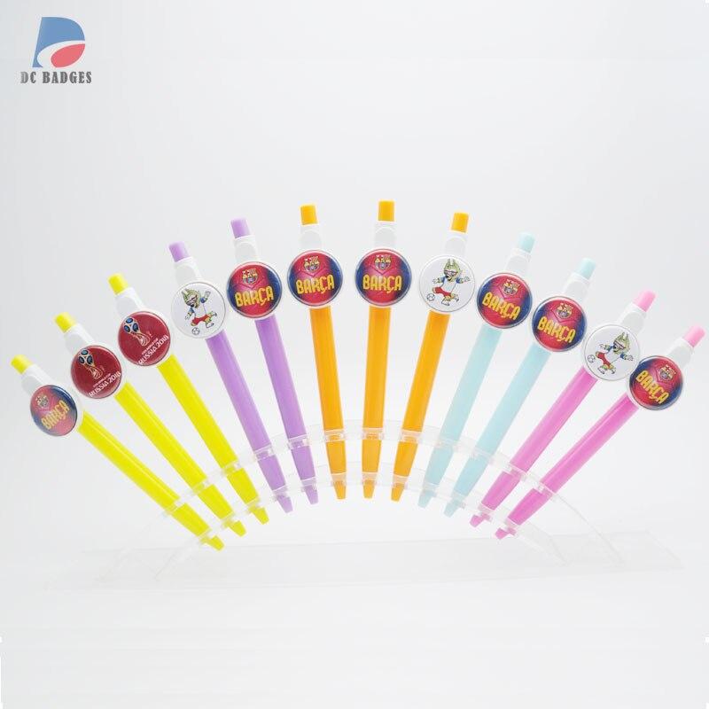 Ev ve Bahçe'ten Düğme ve Rozet Parçaları'de Ücretsiz kargo 500 setleri Tükenmez mix renk 25mm düğme ballpen malzeme olmadan futbol resimleri'da  Grup 1