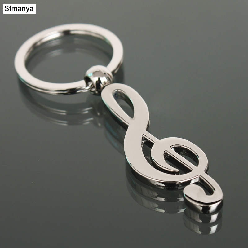 Hot Nw Metal Musical Note Key Chain Cool Luxury Car Key Ring Musical Bag Pendant Keychains For Man Women Gift Jewelry K1602