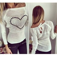 New Arrival Ladies 2015 Winter Lady Sweater Small Hollow Halter Straps Sweet Cotton O Neck Sweater