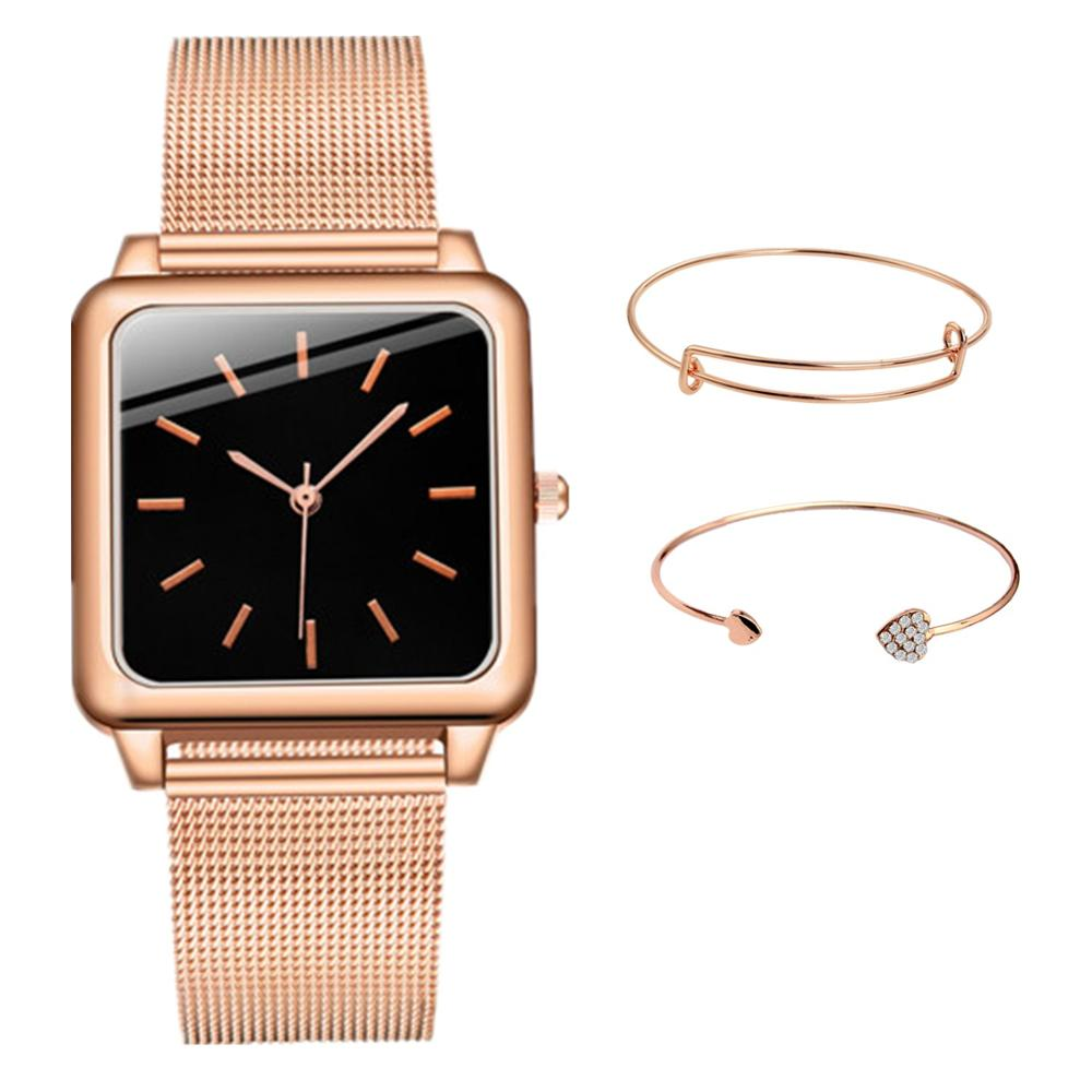 Dropshipping 3PCS/SET Fashion Women Watches Top Brand Luxury Rose Gold Steel Mesh Women Watch Ladies Square Quartz Clocks Saati