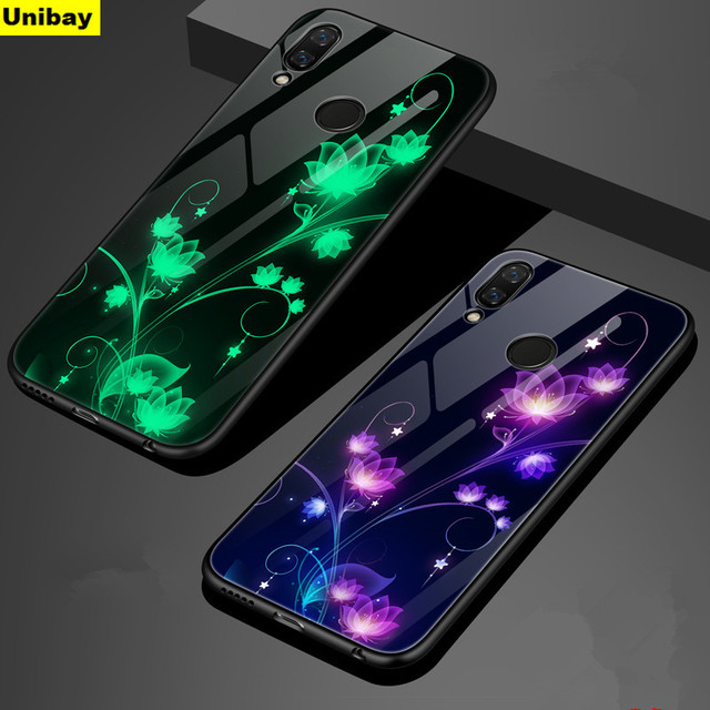 Unibay Huawei p20 lite Glow Case 9h Tempered Glass Back Cover for huawei Nova 3e Luminous Case Cover Noctilucent