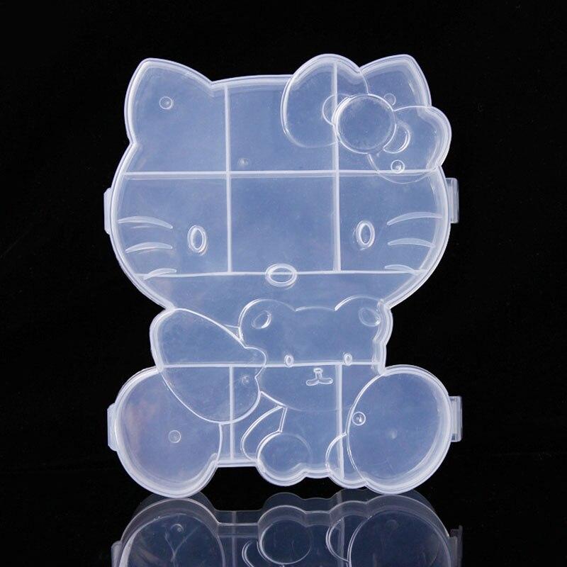 Plastic CUTE Cartoon Hello Kitty Storage Box Jewelry Adjustable Tool Box Case Storage Box Craft Organizer D8