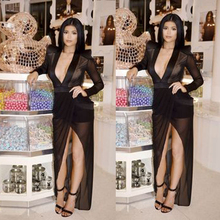 2015 Women sexy deep V Long font b Dress b font Irregular black font b dress