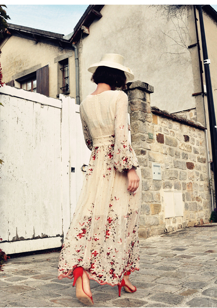 Floral Robe Show Pour Picture Robes Vintage Soie V Haute Été Col À Printemps As Profond Maxi Femmes 100 Manches En Crème Broderie Longues Qualité TEwvBq