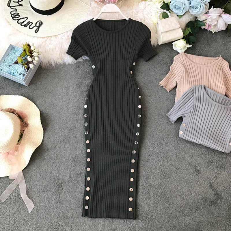 Gestrickte Rippen Lange Kleid Frauen Bodycon Kurzarm Oansatz Zweireiher Kleider Weibliche 2020 Frühling Sommer Feste Vestidos