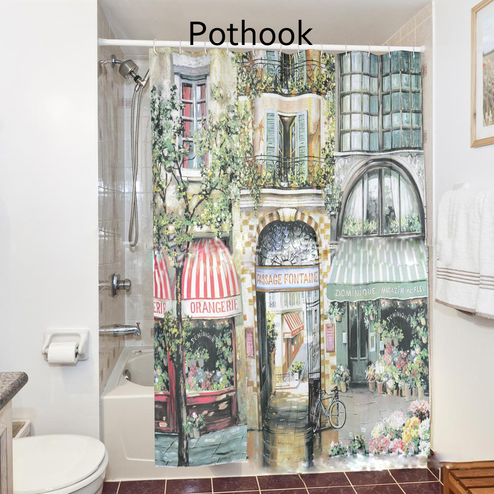 Polyester Shower Curtain 180*180cm Increasing The Waterproof Large Size  Printing The Urban Garden Of The Street Cafe 1PCS 2017