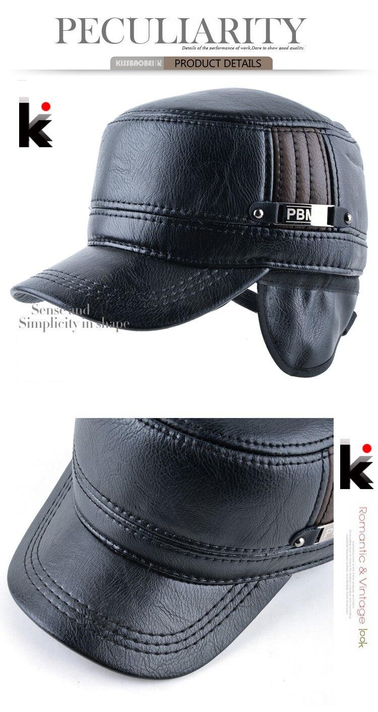 5c1dc9b2b30650 2018 Winter mens leather cap warm hat baseball cap with ear flaps ...