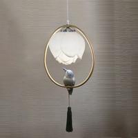 Chinese style pendant lamp resin Lotus bird decorations oval lighting bedroom living room study dining room loft chandelier
