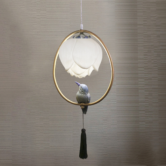 Chinese style pendant lamp resin Lotus bird decorations oval lighting bedroom living room study dining room loft chandelier