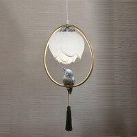 Lampa wisząca w stylu chińskim żywica Lotus bird dekoracje owalne oświetlenie sypialnia salon badania jadalnia żyrandol na poddaszu w Wiszące lampki od Lampy i oświetlenie na
