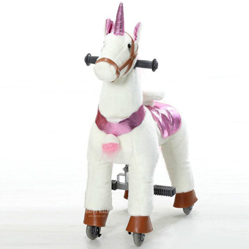 Plush Walking Ride on Horse Toy with Stable Animal Unicorn Ride Children Christmas Gift Outdoor Playground Racing Horse for Sale