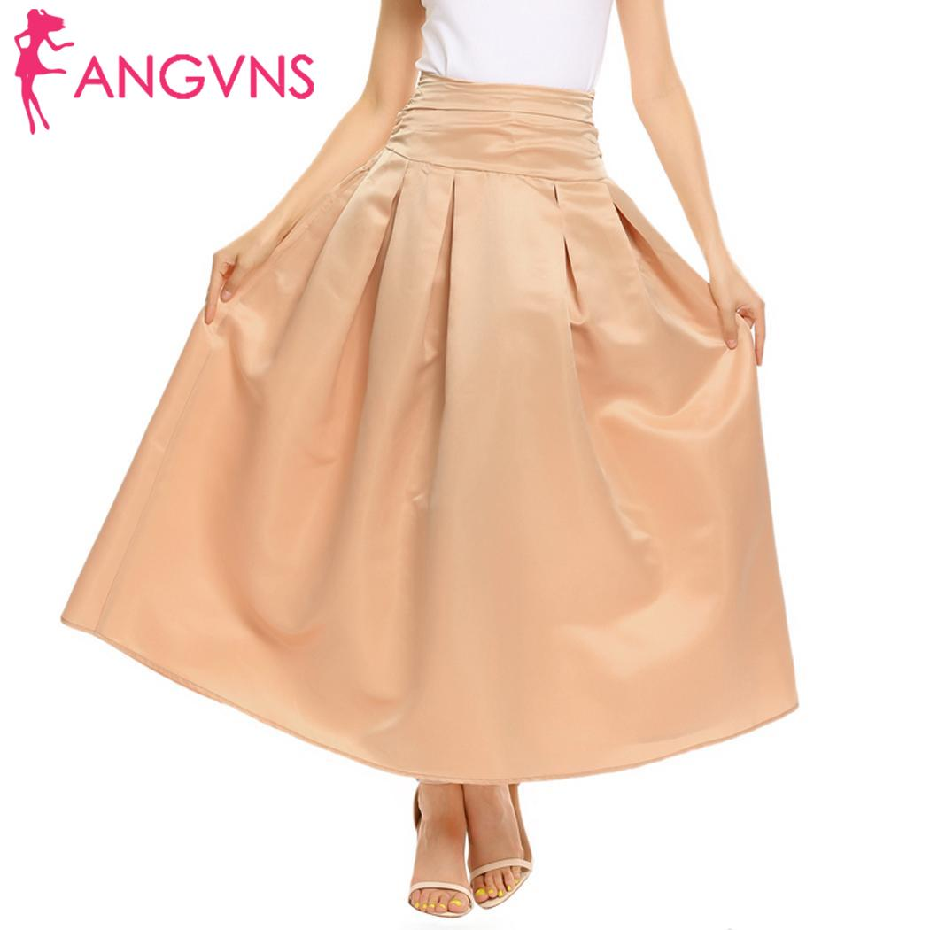 ANGVNS Long Party Skirts Vintage Tutu Autumn Women High Waist Big Swing Pleated Bubble Skirt Maxi Skirts with Pocket Banquet