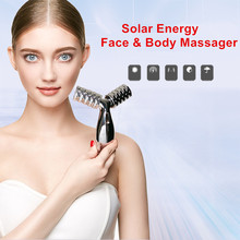 Solar Energy 3D Body Massager Micro Current Thin Face Massager Roller slimming instrument shaping tight skin beauty instrument 360 degree micro current face v shaping massager electric face neck scraper facial skin tighten